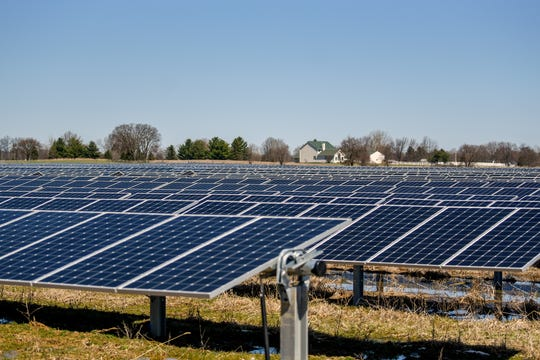 A solar operation on Nixon Road south of Mount Hope Highway on Monday, April 15, 2019, in Delta Township. Eaton County passed an zoning amendment aimed at addressing solar operations in rural areas in March.