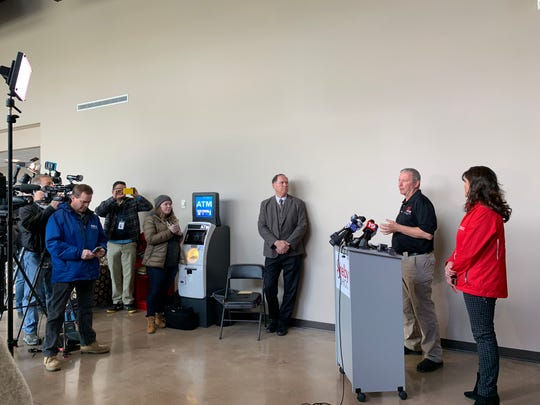 Shelby Mayor Steve Schag, Richland County interim Emergency Management Agency Director Rick Evans and Executive Director of the American Red Cross Lara Kiefer addresses the media April 15, 2019, the day after a tornado touched down in the area.