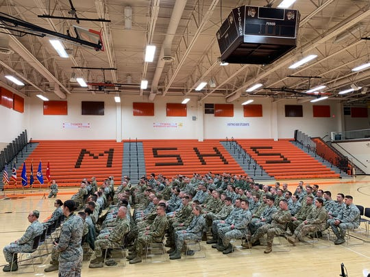 Airmen of the 179th Airlift Wing are honored during a Welcome Home ceremony.