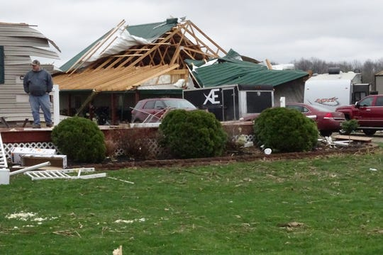 A tornado that passed through the Shelby area on the afternoon of Sunday, April 14, badly damaged several homes in the 4400-4500 block of Plymouth-Springmill Road.