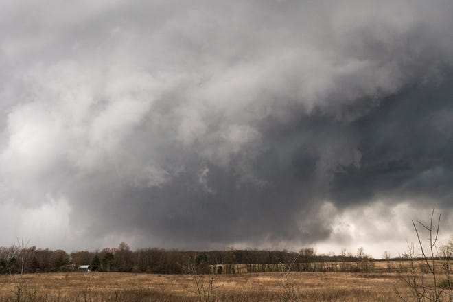 This photo of the tornado was taken at 4:52 p.m. on Sunday, April 14, 2019, shortly after it passed over Shelby.
