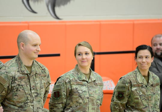 Staff Sgt. Ryan Thomas, Staff Sgt. Madison Chandler and Master Sgt. Kelli Faulkner were among those honored at a Welcome Home ceremony on Sunday.