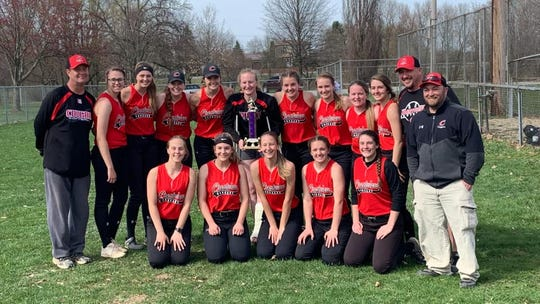 The Crestview Lady Cougars won the V Division of the MVD Invitational over the weekend beating Shelby 3-1, Lucas 3-1 and Lexington 10-2.  Back Row: Coach Rodney Givens, Jade Schaefer, Kylie Ringler, Clare Robertson, Natalie Restille, Autumn Bailey, Mary Leeper, Kristin Crider, Brooklyn Johnson, Zoe Metzger, Coach Aaron Goon, Coach Josh Cunningham Front Row: Paige Schaefer, Leighla Gray, Alyssa Derr, Ashlie Hicks, Lindsey Them