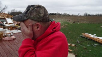 Jim Bly talks about the tornado that destroyed his home at 4444 Plymouth-Springmill Road on Sunday, April 14, 2019.