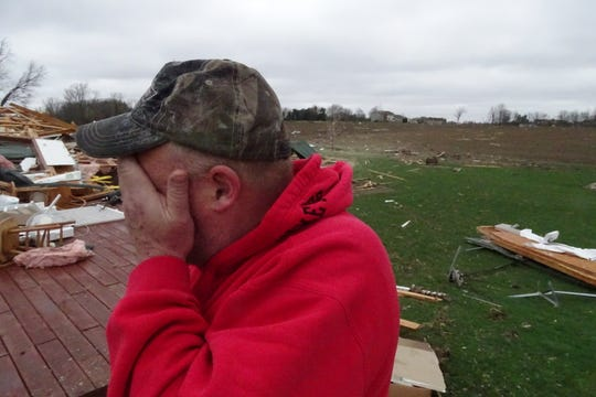On Monday morning, Jim Bly describes the Sunday tornado that hit his home as 444 Plymouth-Springmill Road near Shelby.