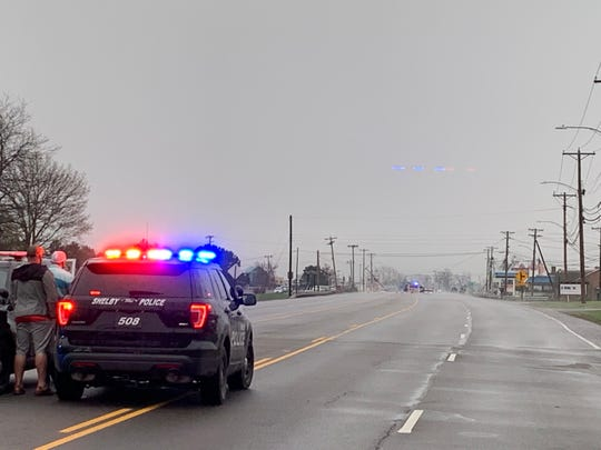 Shelby police block a portion of Ohio 39 at the intersection of Mickey Road after a tornado swept through the area on April 14, 2019.