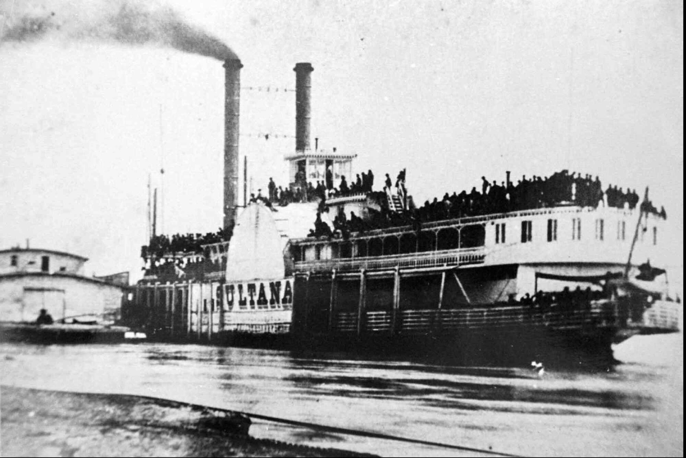 The steamboat Sultana is shown in an April 26, 1865, file photo docked on the Mississippi River at Helena, Ark. About 1,800 people died when the boat exploded the following night near Marion, Ark.