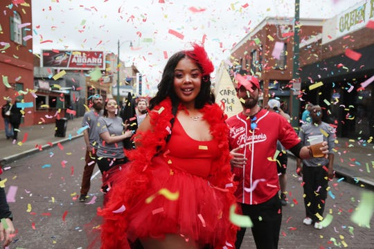 Beale Street Wine Race downtown with a parade, Queen of the Vine contest, Grape Stomp and the Great Wince Race on Sunday, April 14, 2019.