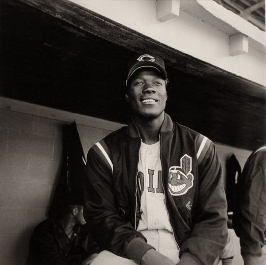 """Jim """"Mudcat"""" Grant of the Cleveland Indians visits Memphis' old Russwood Park."""