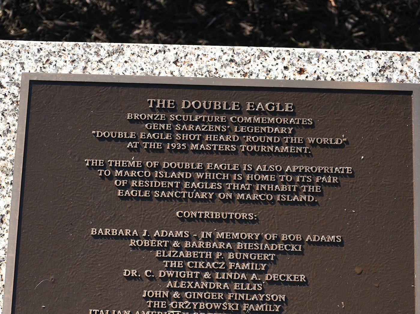 A list of the sculpture's donors. Friday morning, the Marco Island Foundation for the Arts unveiled a plaque with the names of donors who have contributed to the purchase of the Double Eagle sculpture at Sarazen Park on Marco.