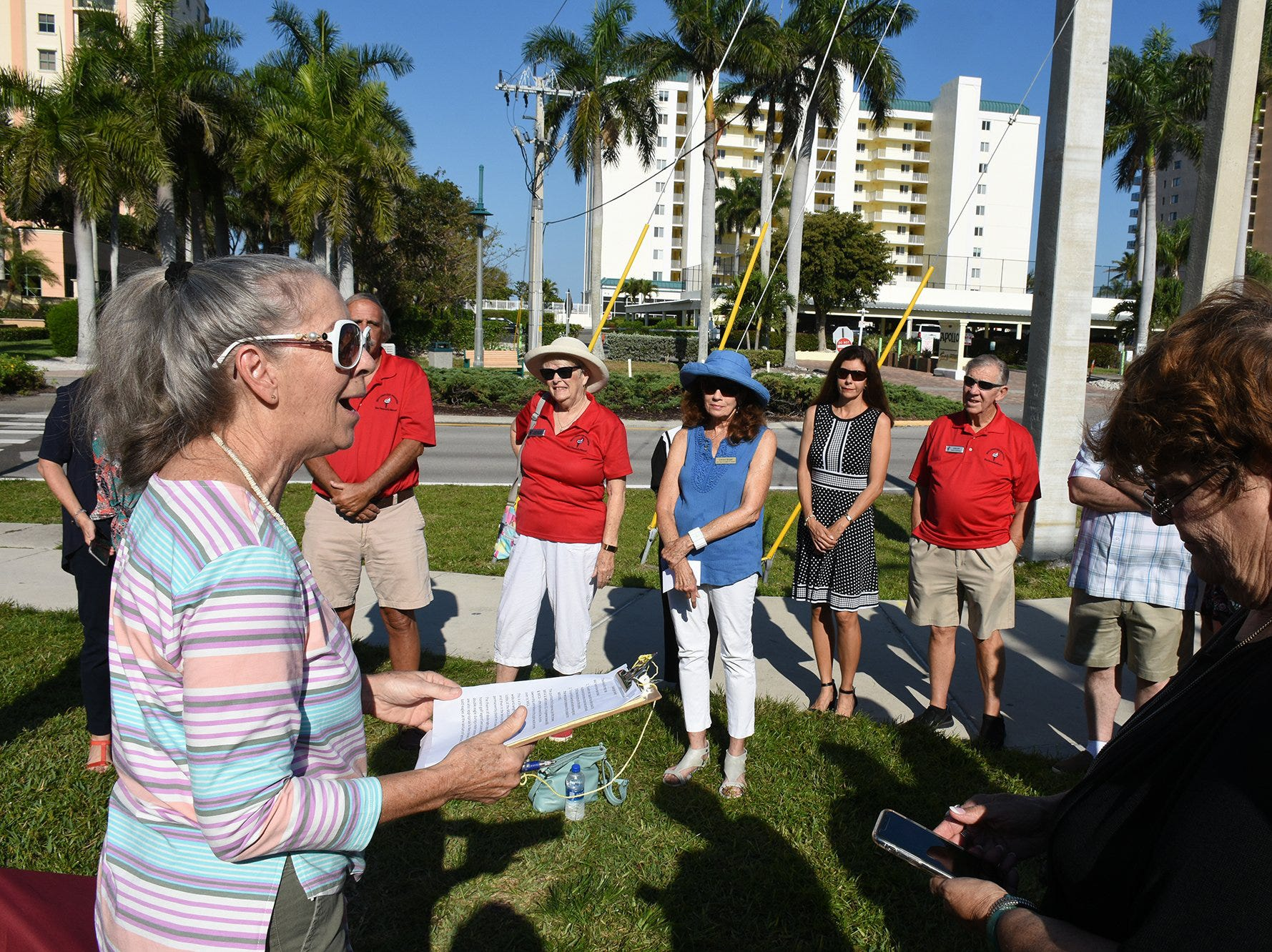 MIFA president Karen Swanker addresses the group. Friday morning, the Marco Island Foundation for the Arts unveiled a plaque with the names of donors who have contributed to the purchase of the Double Eagle sculpture at Sarazen Park on Marco.