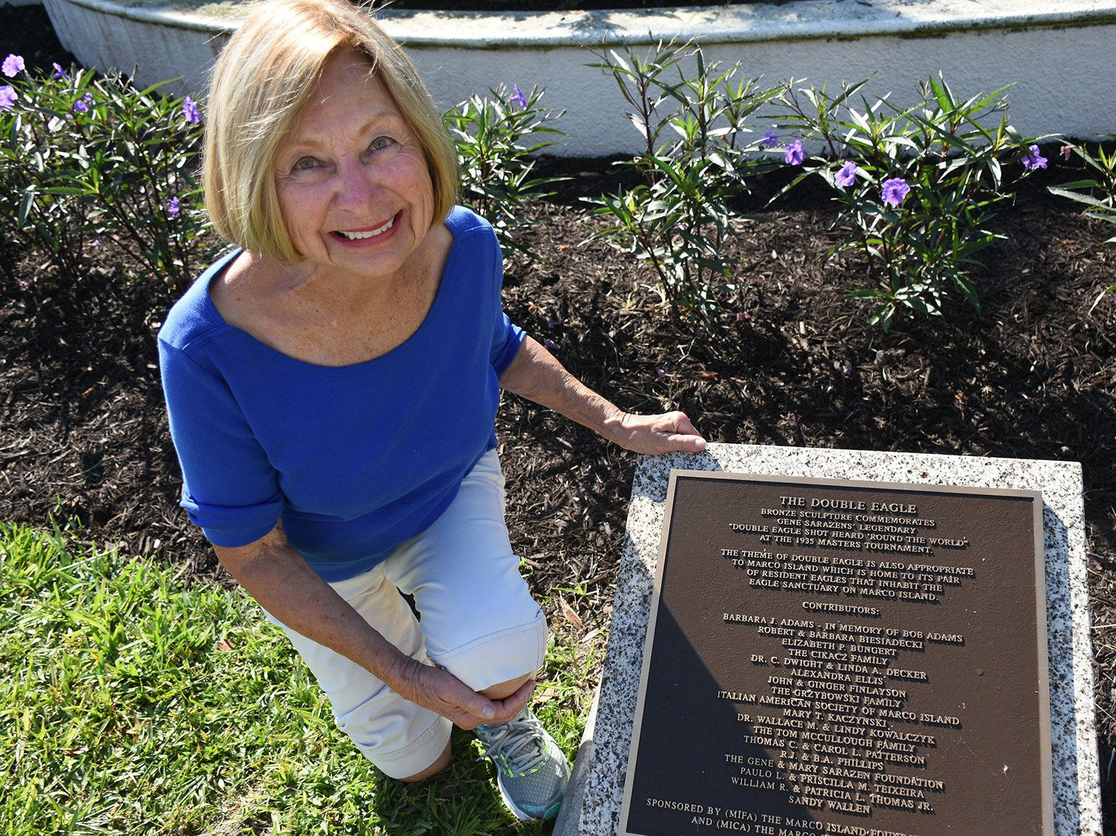 Barbara Adams is listed first on the plaque. Friday morning, the Marco Island Foundation for the Arts unveiled a plaque with the names of donors who have contributed to the purchase of the Double Eagle sculpture at Sarazen Park on Marco.