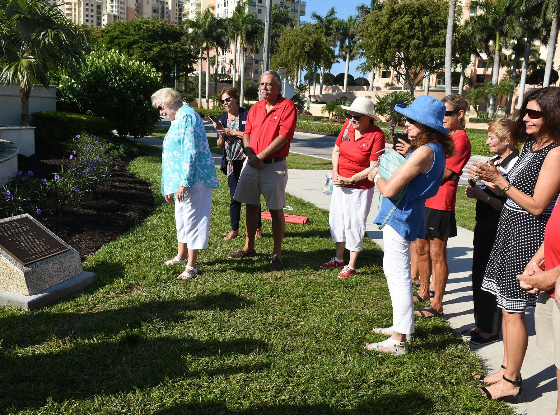 Mary Ann Sarazen, golf legend Gene Sarazen's daughter, views the plaque. Friday morning, the Marco Island Foundation for the Arts unveiled a plaque with the names of donors who have contributed to the purchase of the Double Eagle sculpture at Sarazen Park on Marco.