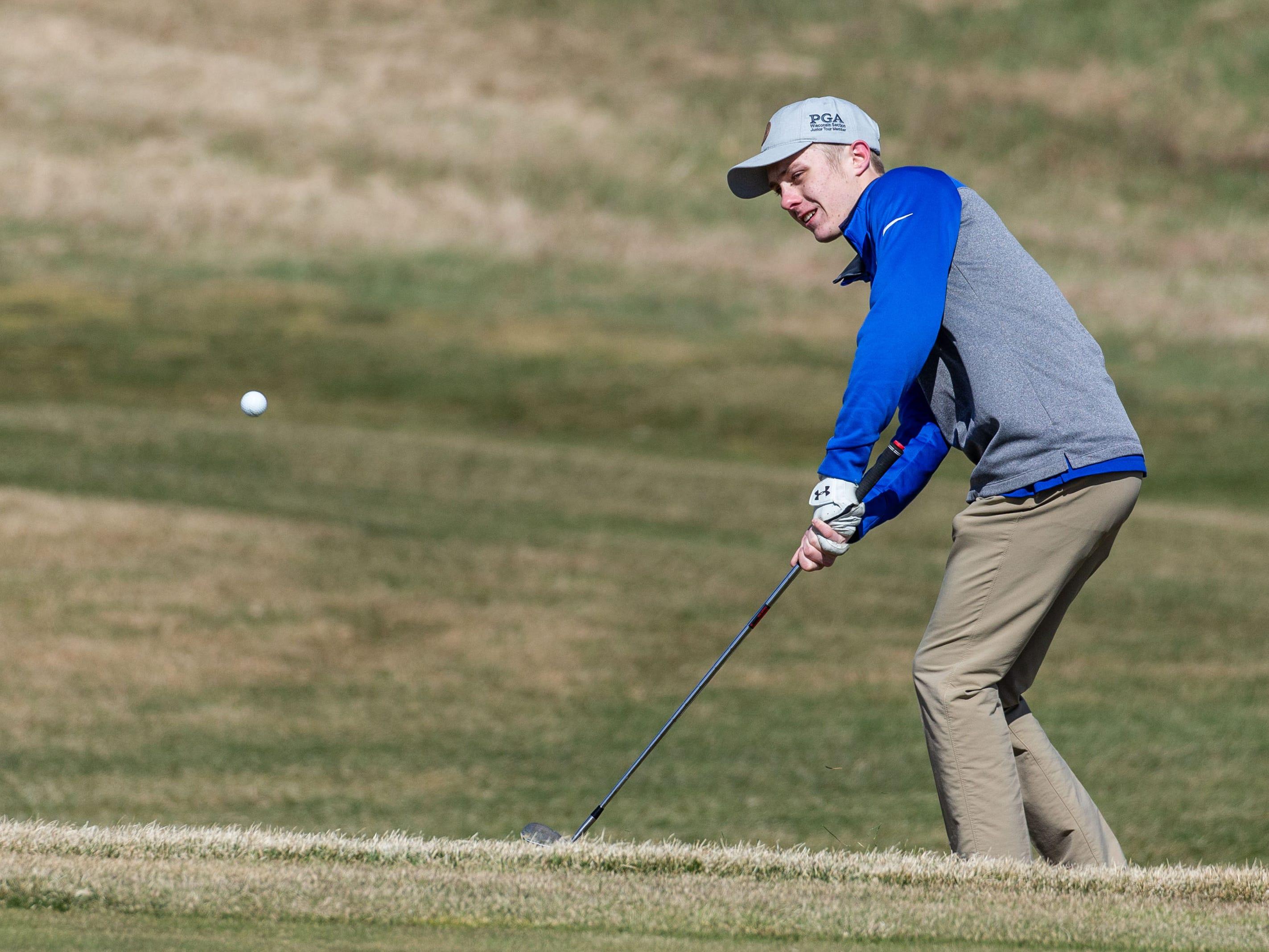 Catholic Memorial golfer Jacob Neques competes in the Catholic Memorial 2019 Crusader Invitational at Broadlands Golf Club in North Prairie on Saturday, April 13, 2019.