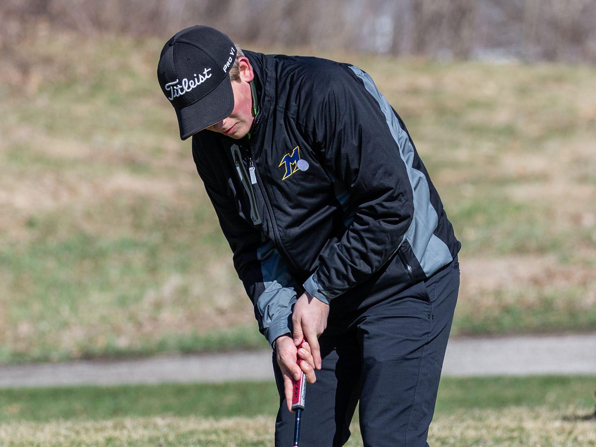Mukwonago golfer Grant Fischer competes in the Catholic Memorial 2019 Crusader Invitational at Broadlands Golf Club in North Prairie on Saturday, April 13, 2019.