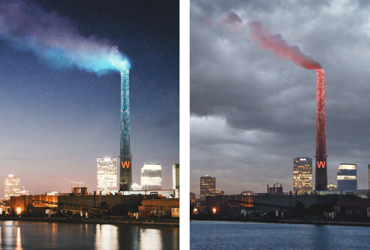 The smokestack at the Jones Island sewage treatment plant would change its lit color from blue to red as part of the WaterMarks public art project.
