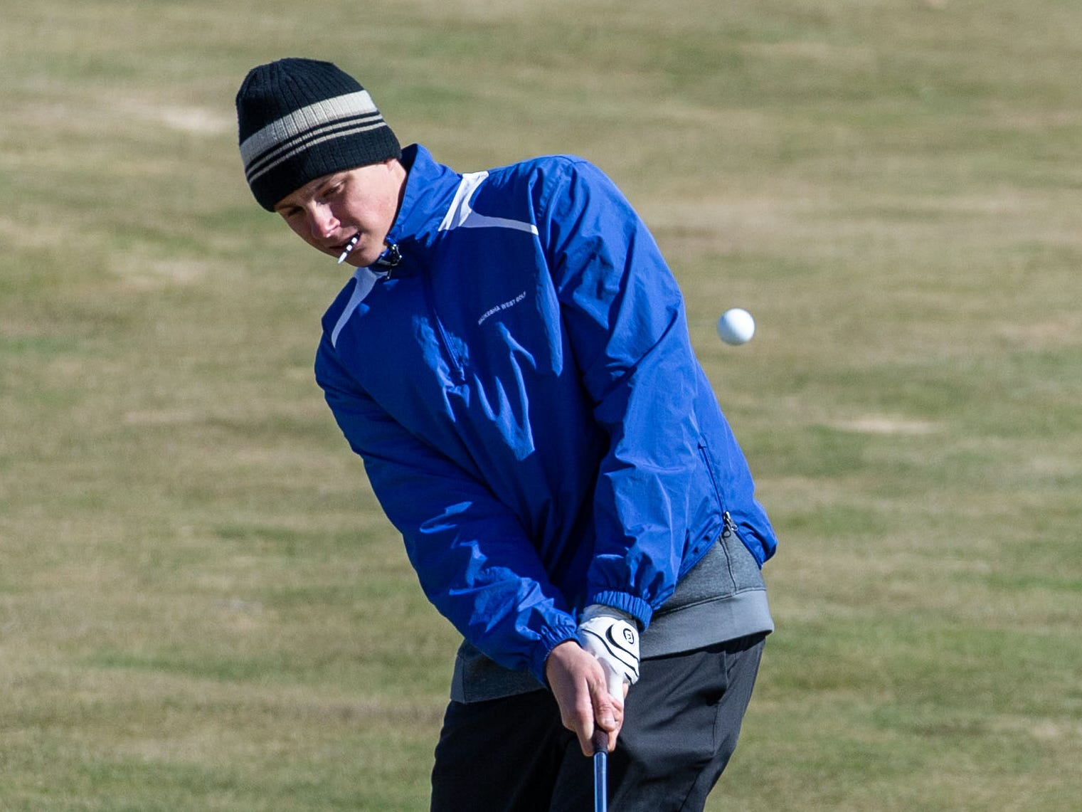 Waukesha West golfer Bradey Lingle competes in the Catholic Memorial 2019 Crusader Invitational at Broadlands Golf Club in North Prairie on Saturday, April 13, 2019.