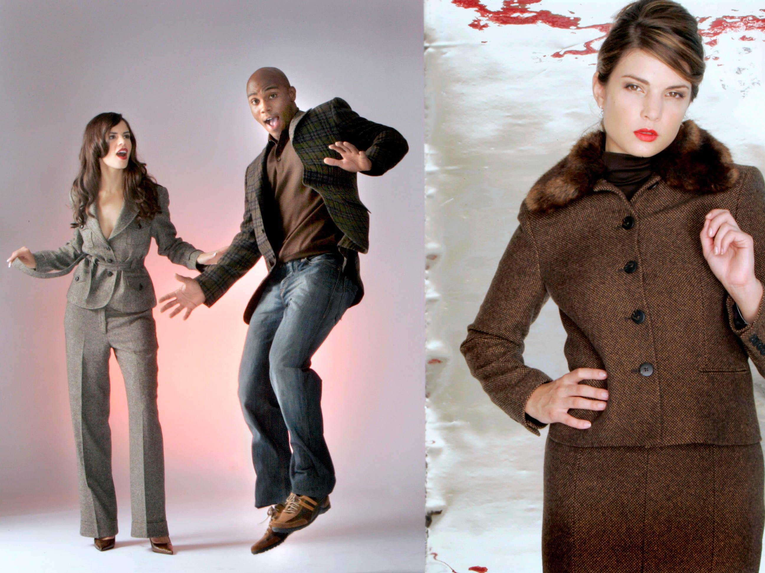 "On him, Trussini ""Linea Classico"" plaid sportcoat, $925, Gran Sasso cashmere sweater, $235, at Harleys."