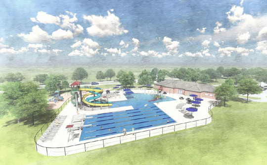 This rendering shows a new 7,500-square-foot pool at the existing Fox Point Pool site. The project is estimated to cost $4.7 million.