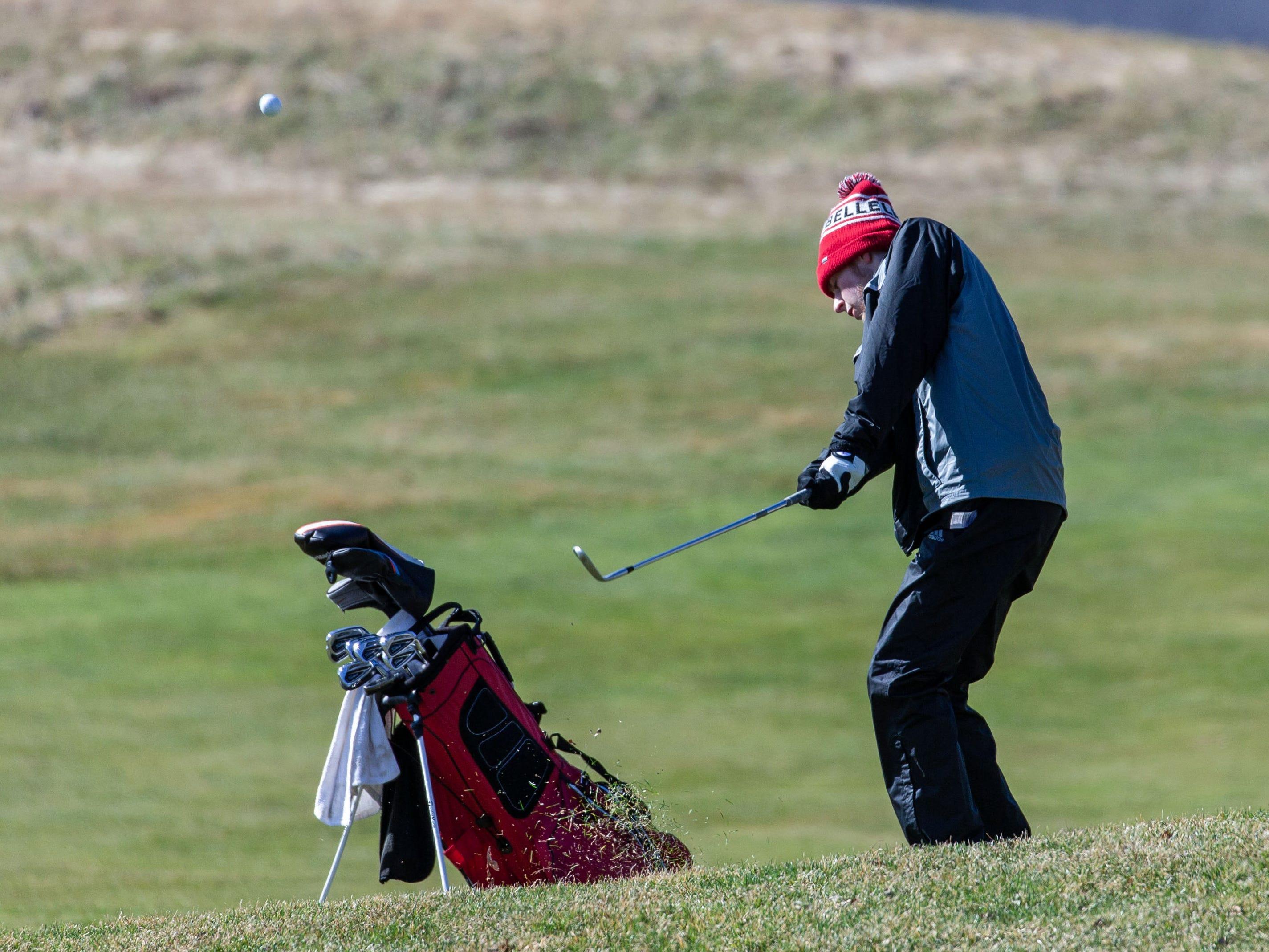 Pewaukee golfer Alex Lee competes in the Catholic Memorial 2019 Crusader Invitational at Broadlands Golf Club in North Prairie on Saturday, April 13, 2019.