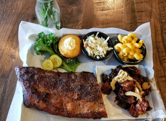 This combo plate includes burnt ends, which can also be ordered as an appetizer.