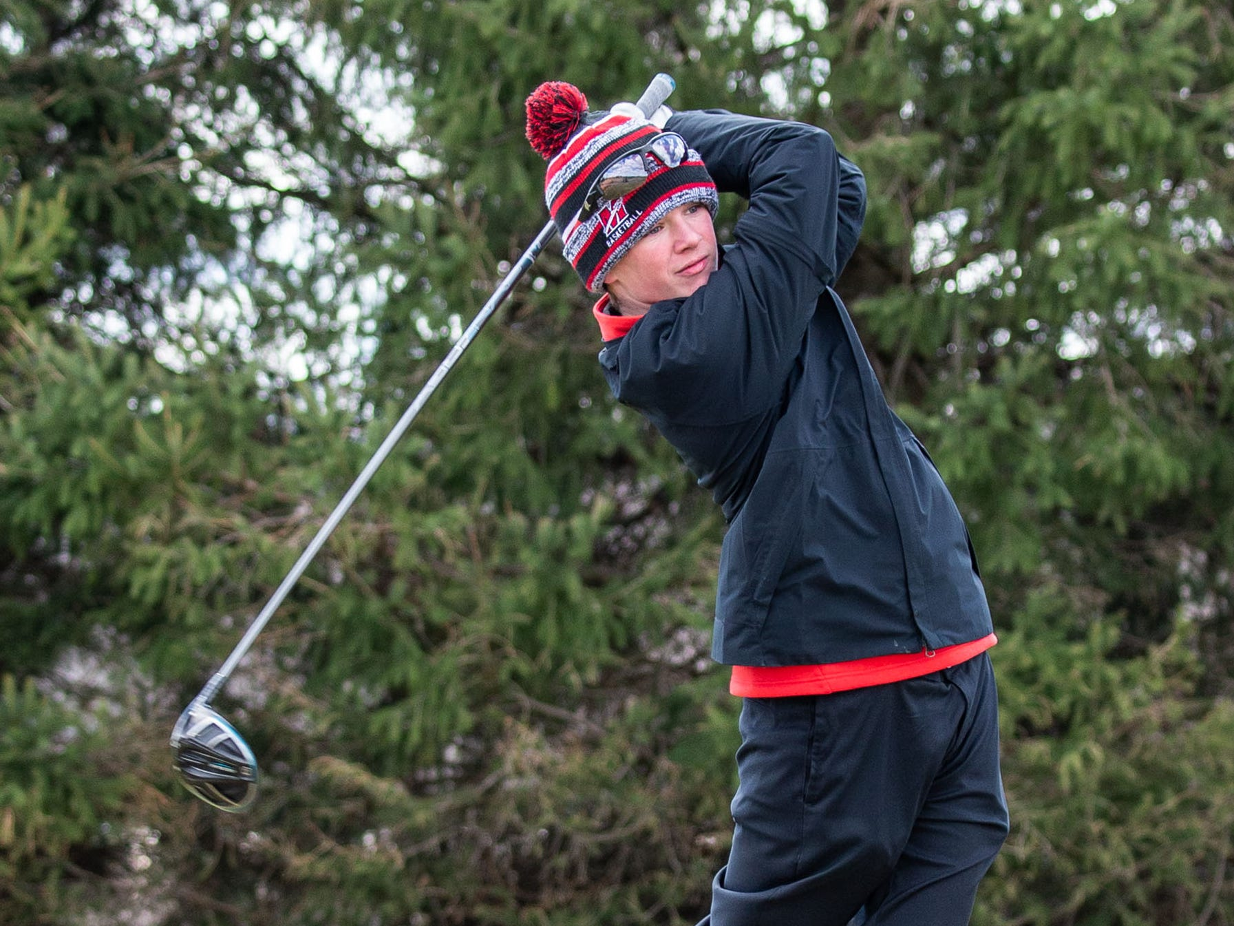 Muskego golfer Joey Drana competes in the Catholic Memorial 2019 Crusader Invitational at Broadlands Golf Club in North Prairie on Saturday, April 13, 2019.