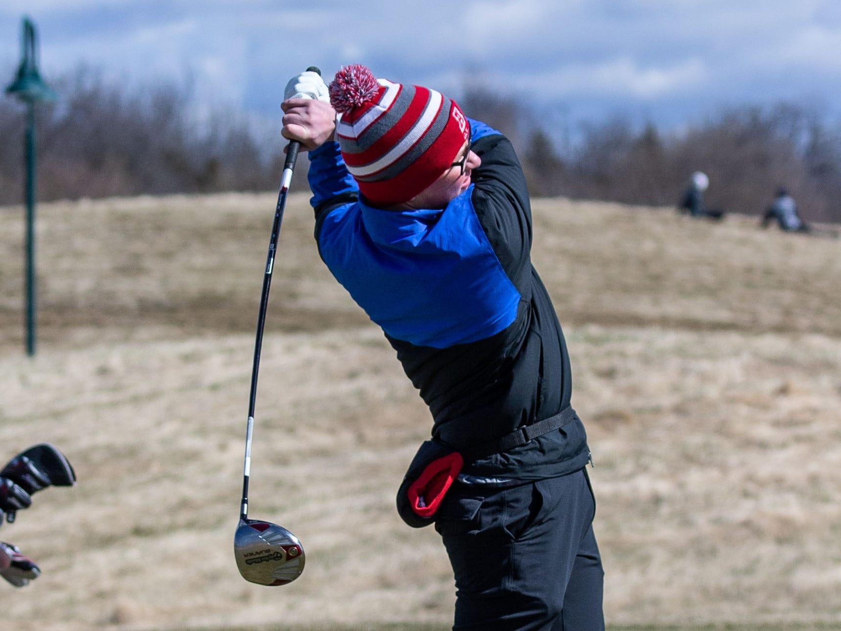 Arrowhead golfer David Kneiser competes in the Catholic Memorial 2019 Crusader Invitational at Broadlands Golf Club in North Prairie on Saturday, April 13, 2019.