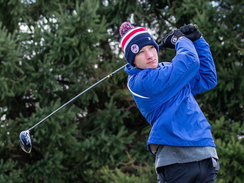 Waukesha West golfer JJ Webb competes in the Catholic Memorial 2019 Crusader Invitational at Broadlands Golf Club in North Prairie on Saturday, April 13, 2019.