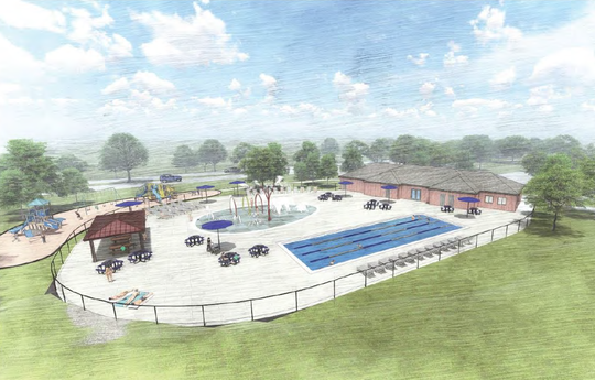 This rendering shows a small splash pad and a four-lane, 2,000-square-foot lap pool at the existing Fox Point Pool site. The project is estimated to cost $3.4 million.