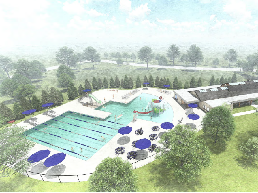This rendering shows a new 7,500-square-foot pool in Longacre Park. The project is estimated to cost $4 million.