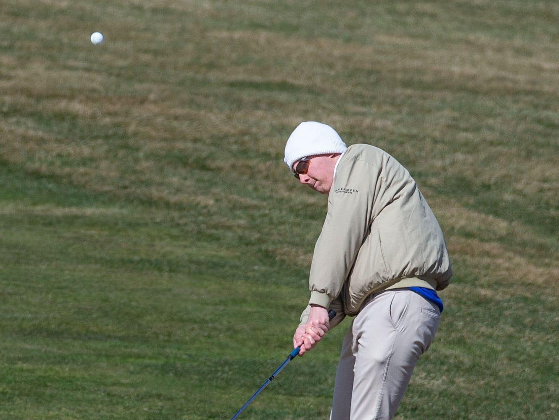Golfer Tim Evans from Kenosha St. Joes competes in the Catholic Memorial 2019 Crusader Invitational at Broadlands Golf Club in North Prairie on Saturday, April 13, 2019.