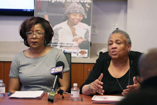 Patricia McManus, right, president of Black Health Coalition of Wisconsin, on Monday denounces the way she said her group's proposal to receive a federal grant to help prevent infant mortality was treated by city officials. At left is Michele Grant, chief operating officer of Milwaukee Health Services. They were at a newes conference at the MLK Heritage Health Center in Milwaukee.