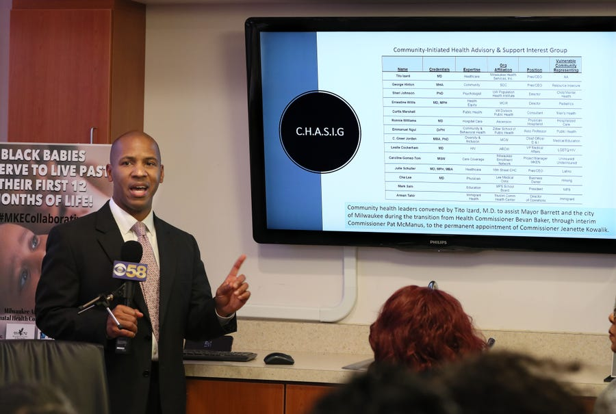 Tito Izard MD, president /CEO Milwaukee Health Services, speaks Monday about the sequence of events in awarding a Healthy Start infant mortality grant to Children's Hospital and why that is not in the best interest of the black community in Milwaukee.