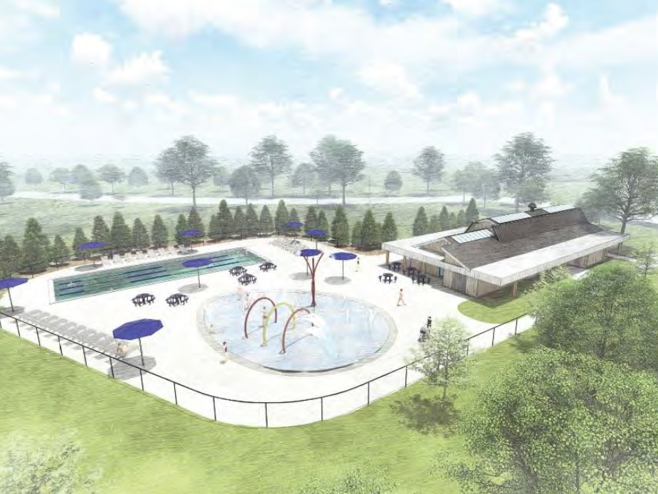 This rendering shows a small splash pad and a four-lane, 2,000-square-foot lap pool in Longacre Park. The project is estimated to cost $2.5 million.