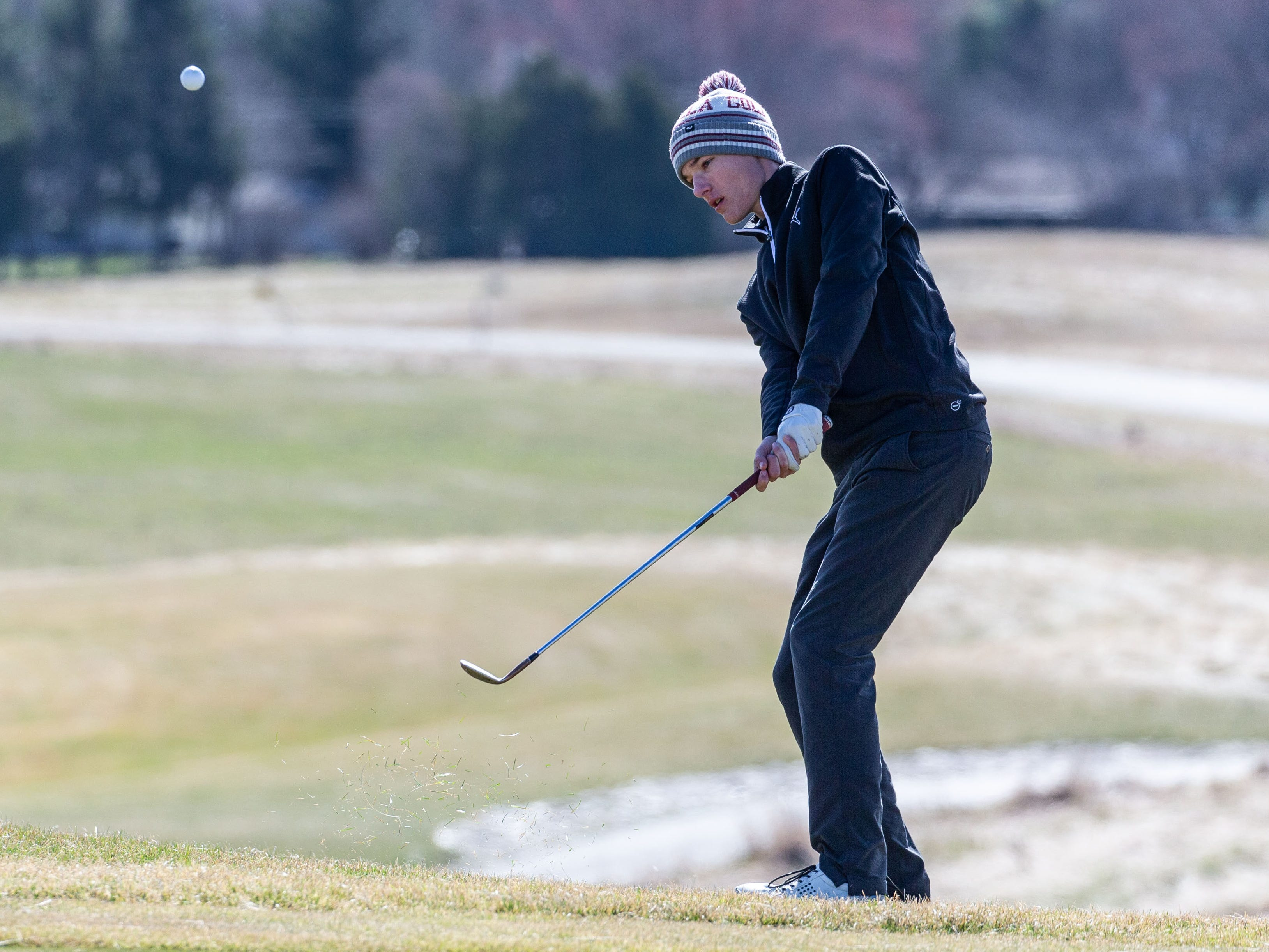 Mukwonago golfer Mason Schulz competes in the Catholic Memorial 2019 Crusader Invitational at Broadlands Golf Club in North Prairie on Saturday, April 13, 2019.