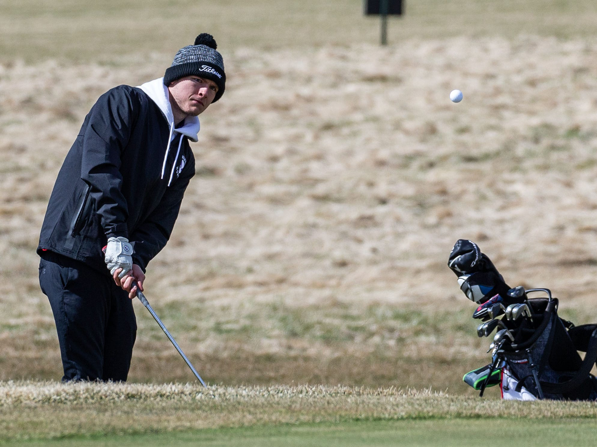 Waukesha North golfer Chris Barnett competes in the Catholic Memorial 2019 Crusader Invitational at Broadlands Golf Club in North Prairie on Saturday, April 13, 2019.