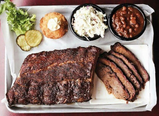 Combo dinners are a way to try more than one meat. Sides include corn muffin, coleslaw and baked beans.