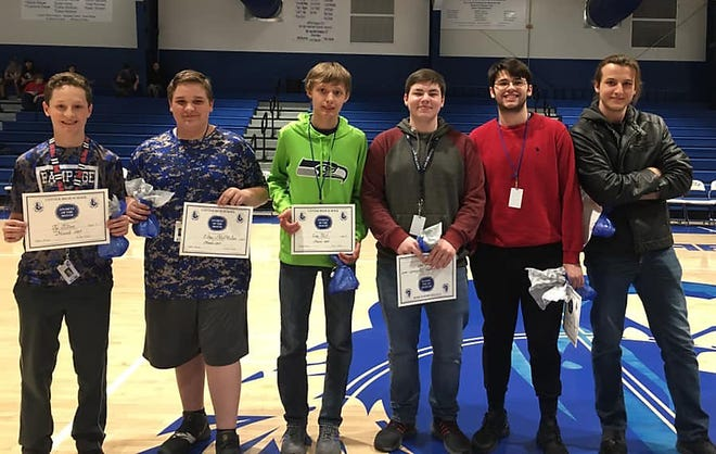 Six Cotter high school and junior high students were recentlyrecognized as Student of the Month for March. Honored were: (from left)Ty Tilton (seventh grade); Ethan McMillan (eighth grade); Chris Fink (ninth grade); Jayden Hutchison (10th grade); Dylan Dwyer (11th grade); andAyden Froyck (12th grade).