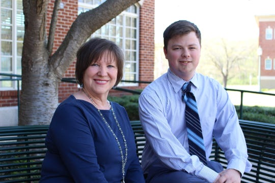 """Arkansas State Universitiy-Mountain Home student Abe Unwer(right), pictured with Dr. Cynthia Crisel, the lecture will be """"Neurodiversity in the Rural Community College"""" on April 24 and 25 in the McMullin Lecture Hall."""