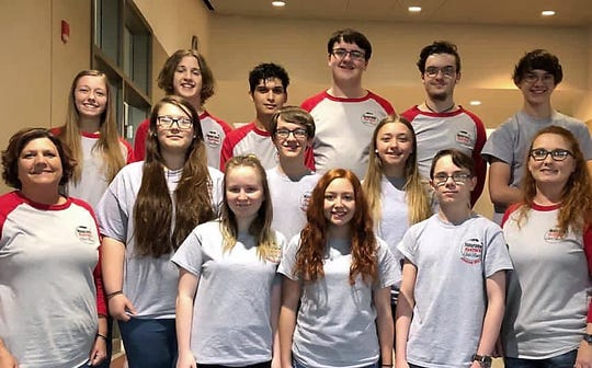 The Norfork High School Panthers went undefeated on Saturdayto secure their place in the State Quiz Bowl finals on April 27, a game that will be televised live on AETN at 1:30 p.m. Pictured are: (front row, from left) coach Pam Braun, Ashton Beavers, Madison Hall, Dakota Biggerstaff, coach Stacy Havner; (second row)Emily Sechrest, Trakker Estes, Amber Weber, (third row)Jessie Weber, Andrew Ruegsegger, Jaden Bennett, Bentley Branscum, Cody Foster andElliott Ruegsegger. Norfork will face the ICC Cougars in the finals, a team that went 5-1 for the day, losing to Mammoth Spring Bears in the morning rounds.This will Norfork's fourth consecutive year to play in theState Finals on AETN. They are coached by Stacy Havner and Pam Braun.