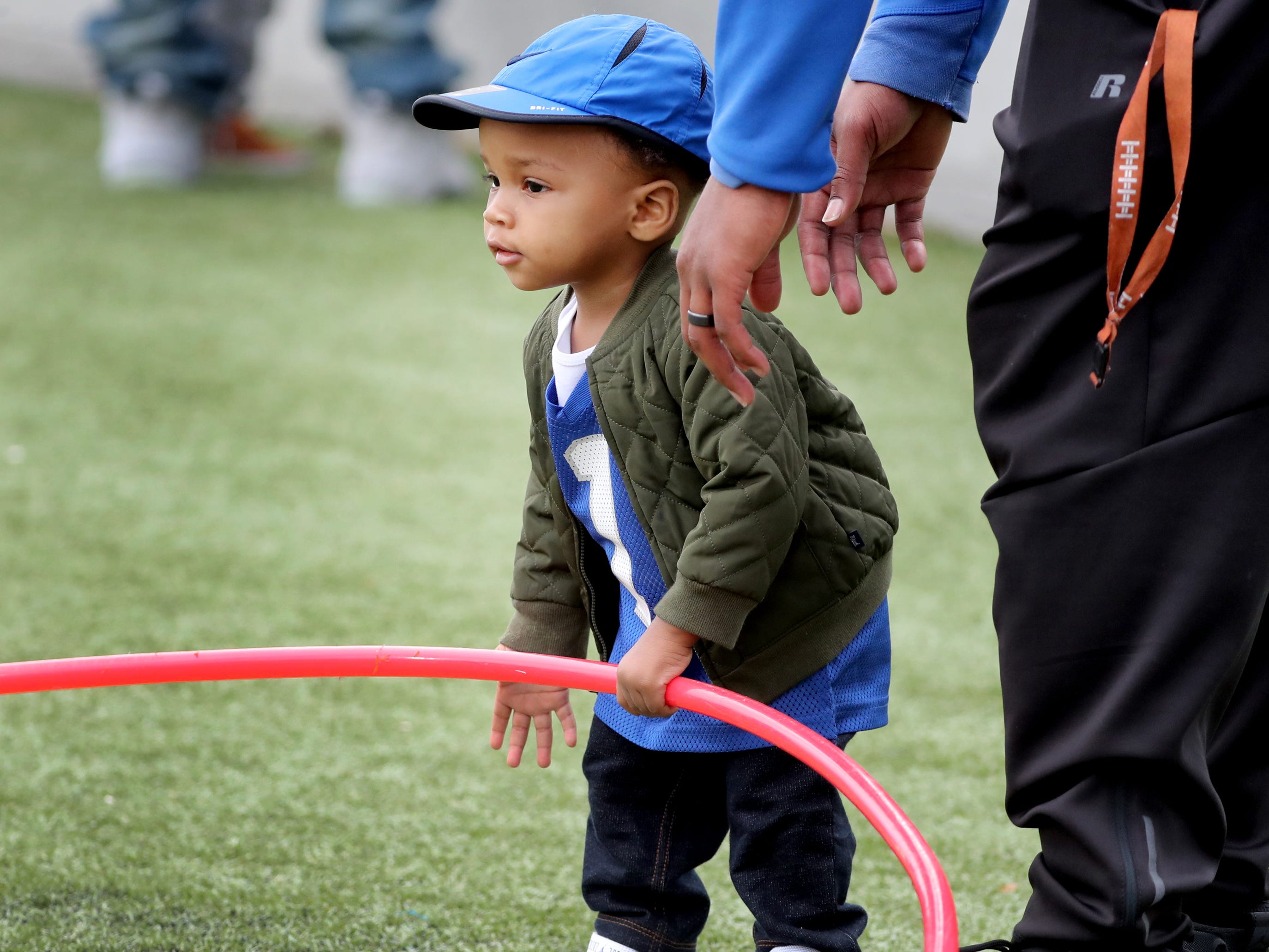 "Son of former MTSU football player Jeremy Kellem, Jeremy Kellem Jr. on the sidelines during MTSU's Blue-White Spring Finale was held on Saturday April 13, 2019, at MTSU's Johnny ""Red"" Floyd Stadium."