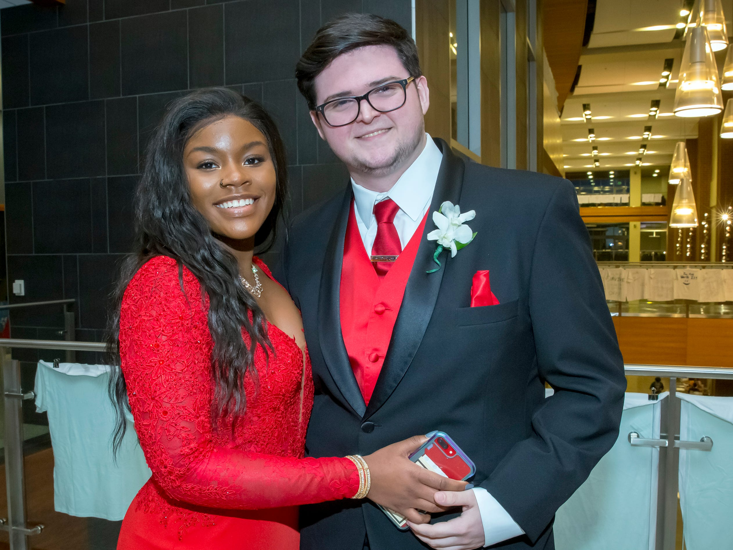 Michelle Johnson and Landon Morrow arrive at Siegel High School prom at MTSU, Saturday, April 13, 2019.