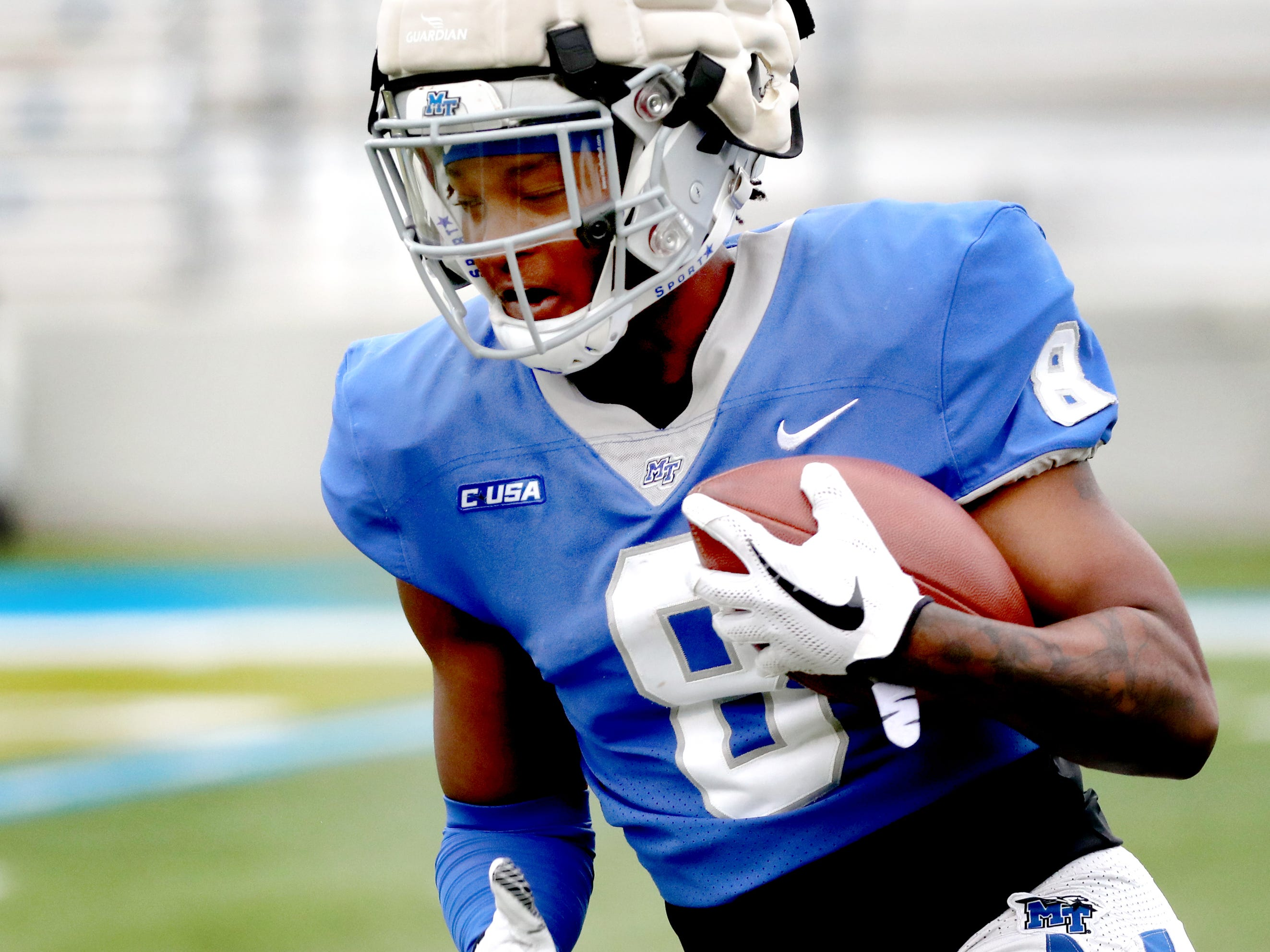 "MTSU's wide receiver Ty Lee (8) runs the ball during MTSU's Blue-White Spring Finale held on Saturday April 13, 2019, at MTSU's Johnny ""Red"" Floyd Stadium."