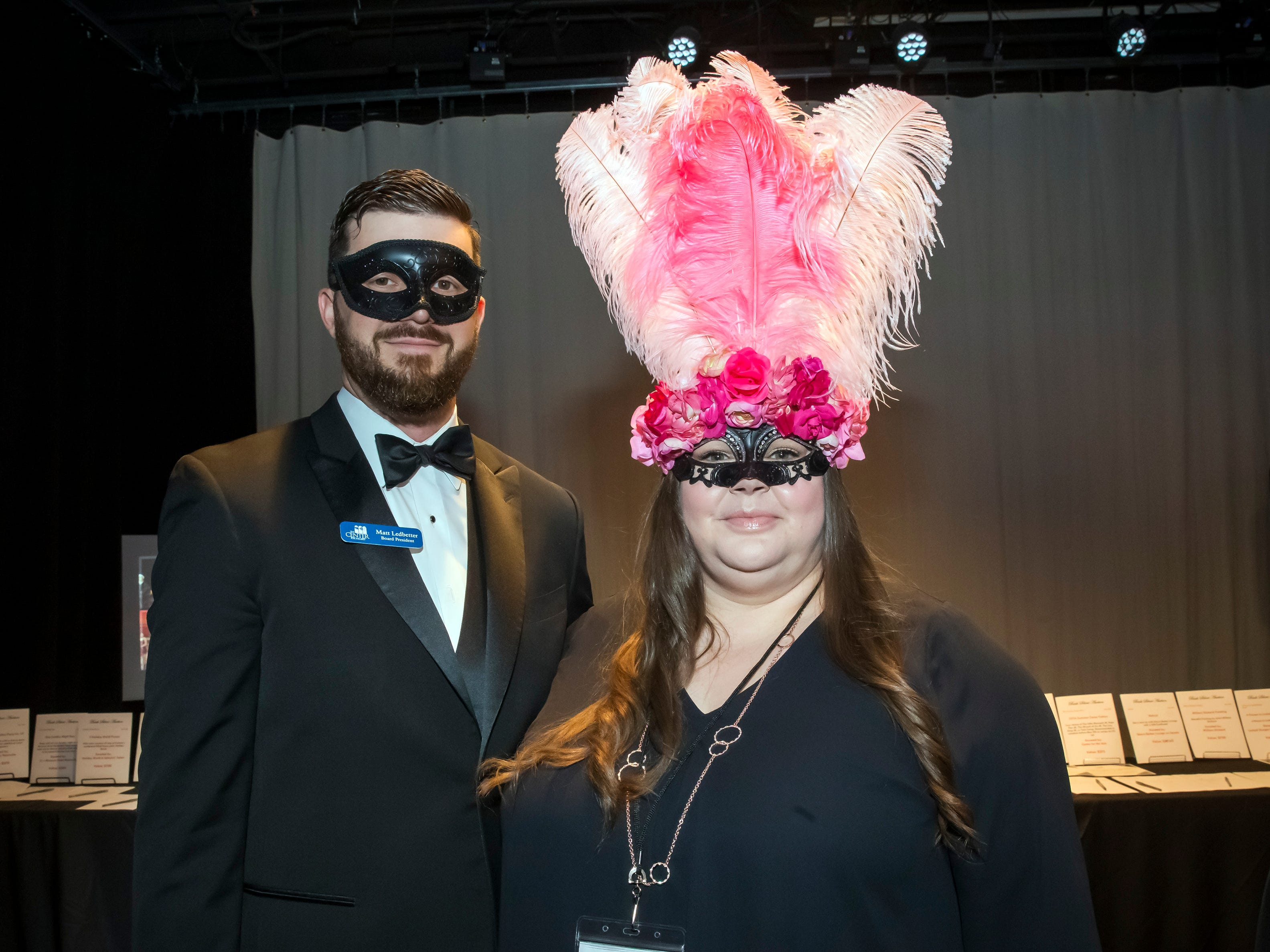 Matt Ledbetter and Patience Long at the Masquerade Bash at the Center for the Arts on Saturday, April 14, 2019.