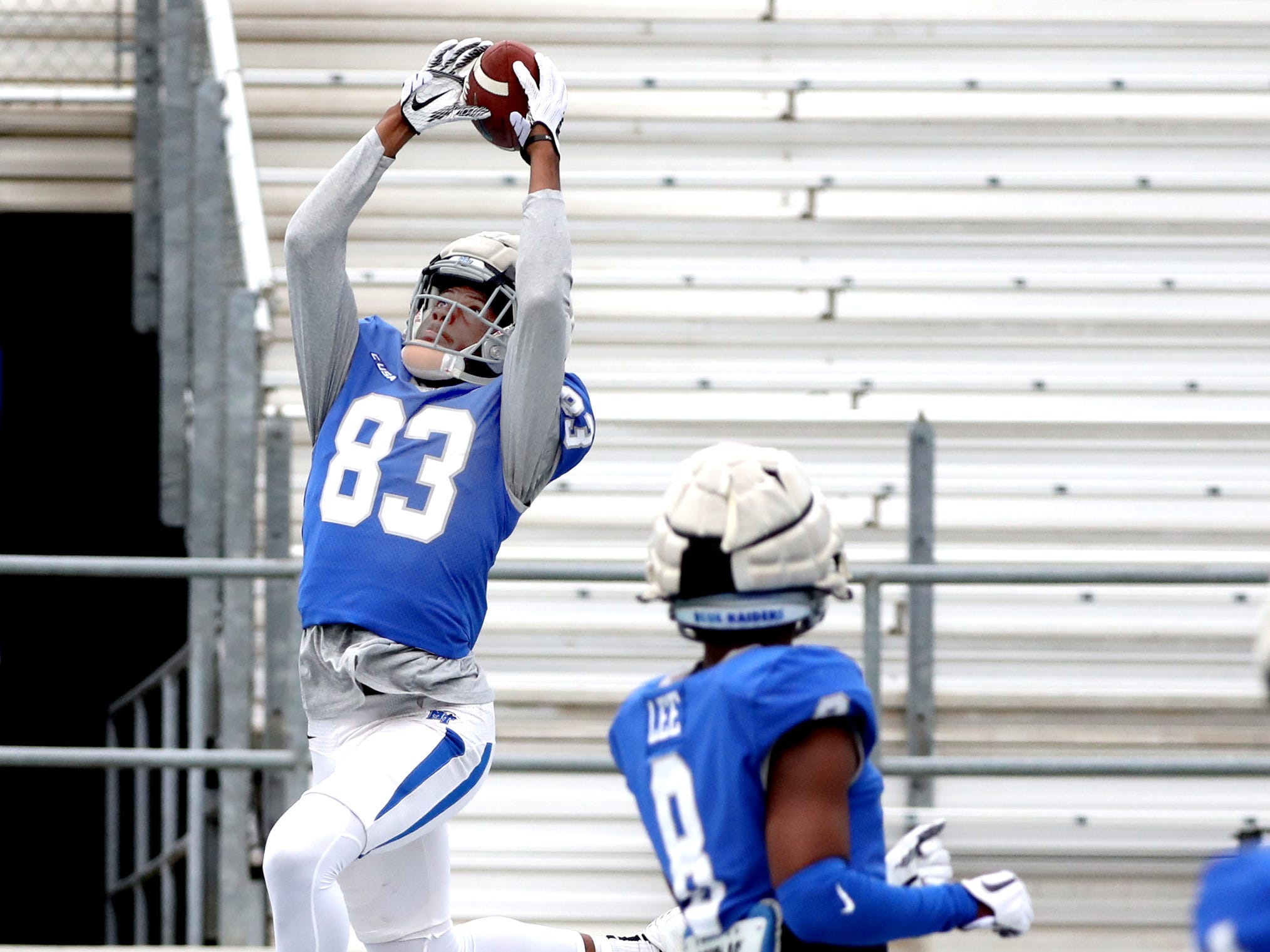 "MTSU's wide receiver Jimmy Marshall (83) catches the ball in the end zone during MTSU's Blue-White Spring Finale held on Saturday April 13, 2019, at MTSU's Johnny ""Red"" Floyd Stadium."