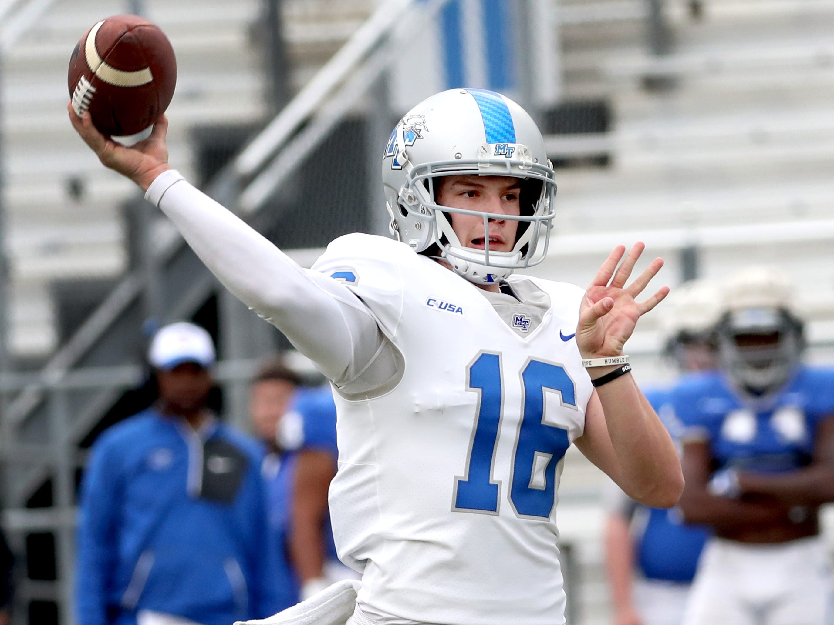 "MTSU's quarterback Chase Cunningham (16) passes the ball during MTSU's Blue-White Spring Finale held on Saturday April 13, 2019, at MTSU's Johnny ""Red"" Floyd Stadium."