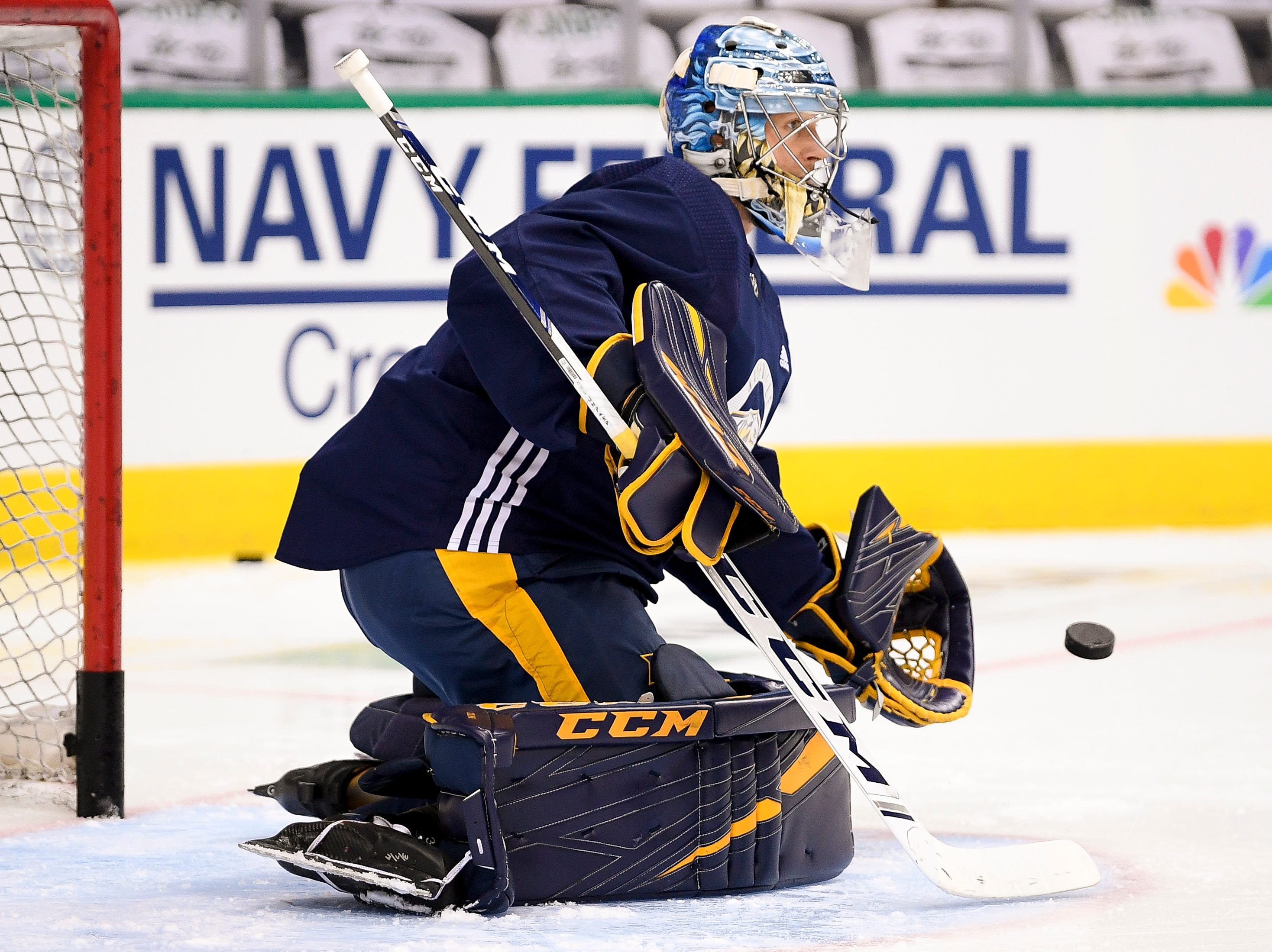 Nashville Predators goaltender Pekka Rinne (35) runs drills during practice before the divisional semifinal game at the American Airlines Center in Dallas, Texas., Monday, April 15, 2019.