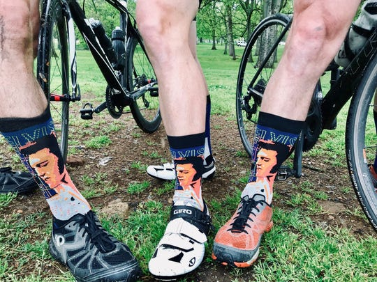 A trio of biology researchers from Vanderbilt University -- Bryan Shepherd, Nick Adams and Dale Edgerton -- rode  through Nashville to create Strava art that looks like Elvis playing the guitar. They, of course, wore Elvis socks.