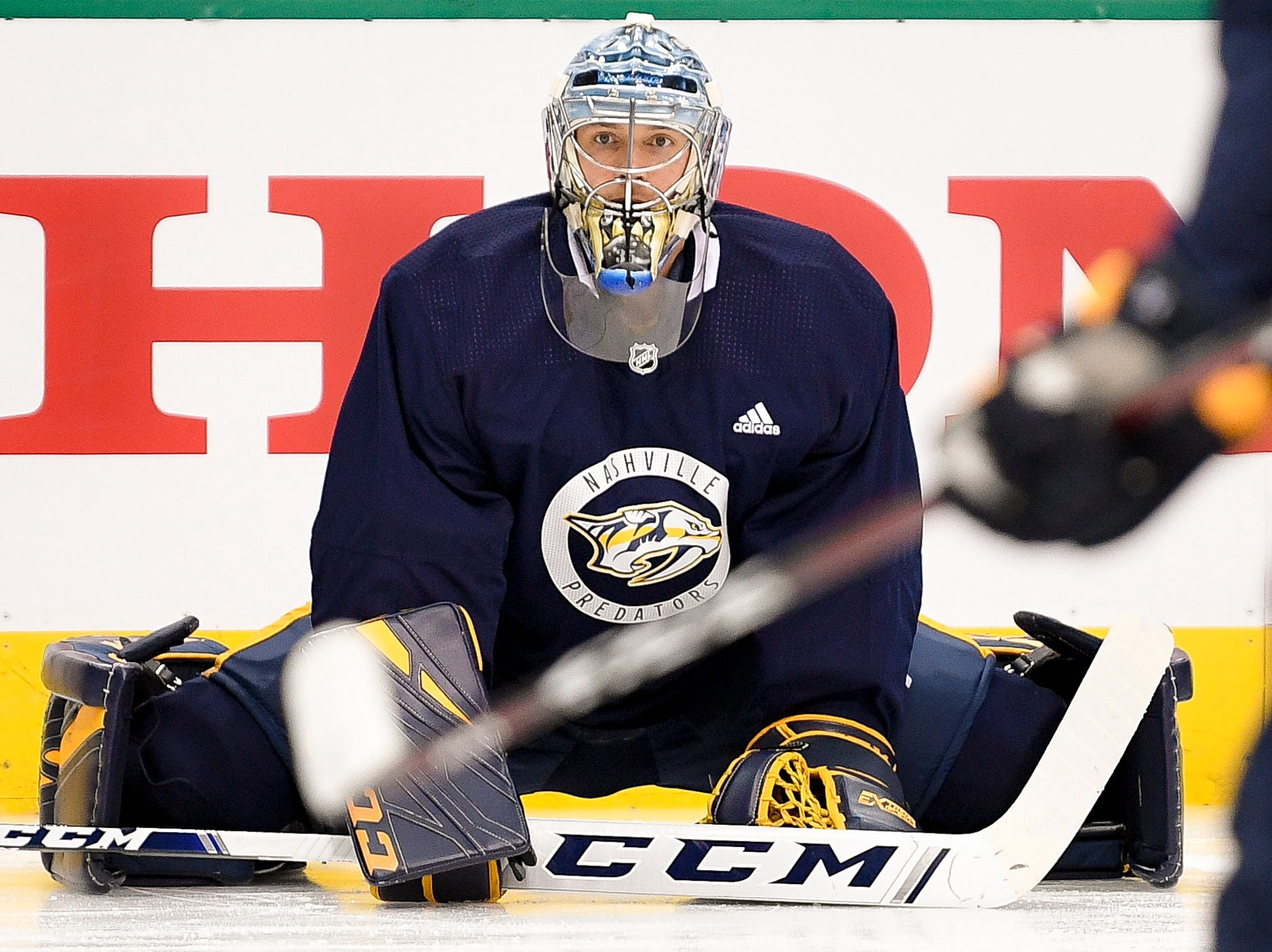 Nashville Predators goaltender Pekka Rinne (35) stretches during practice before the divisional semifinal game at the American Airlines Center in Dallas, Texas., Monday, April 15, 2019.