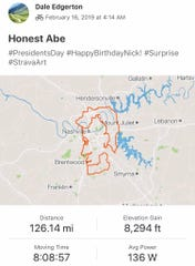 Nashville cyclists Bryan Shepherd and Dale Edgerton perfected a Strava art picture of Abraham Lincoln.